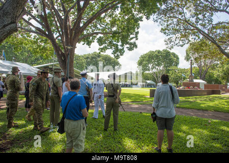 Darwin,Northern Territory,Australia-February 19,2018: Military servicemen and spectators at Bombing of Darwin Day event in Darwin, Australia - Stock Photo