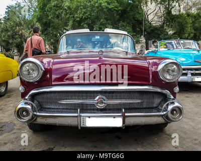 Classic 1950s American car in the streets of Havana in Cuba - Stock Photo