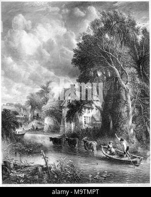 An engraving entitled The Valley Farm from the picture by John Constable in the Vernon Gallery scanned at high resolution from a book printed in 1849. - Stock Photo