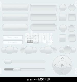 Light grey interface buttons, sliders and toggle switches - Stock Photo