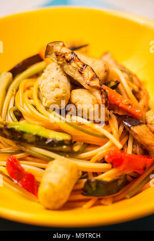 Vegetarian pasta with soy fricandel - Stock Photo