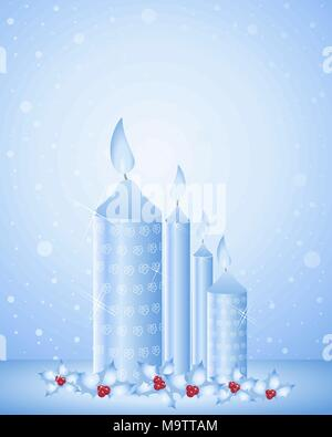 an illustration of festive christmas candles in blue tones with holly decoration and bright red berries on a blue snowy background - Stock Photo