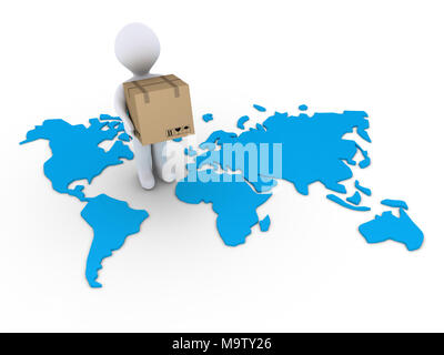 3d person holding a carton box on a world map - Stock Photo