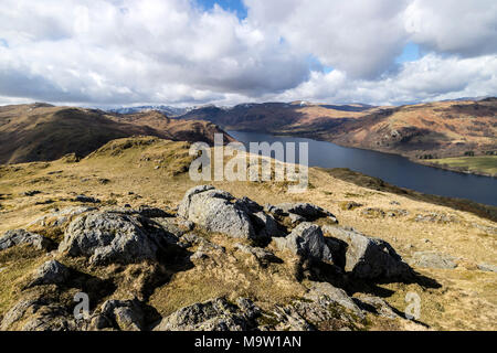 The View South West Along Ullswater From the Summit of Hallin Fell, Lake District, Cumbria, UK - Stock Photo
