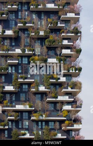 the Vertical Forest Palace, 'Bosco Verticale', detail, Milan, Italy - Stock Photo