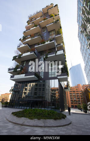 a beautiful wide angle shot of the Vertical Forest Palace, 'Bosco Verticale' and the Google building, Milan, Italy - Stock Photo