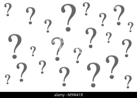 Randon question marks isolation on a white background - Stock Photo