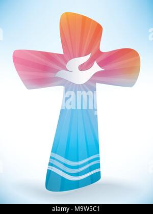Baptism Christian Cross With Dove And Waves Of Water On A Blue