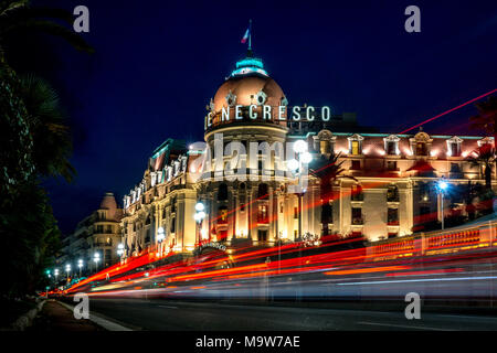 Negresco Hotel at night, Promenade des Anglais, Nice - Stock Photo