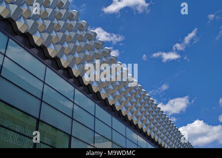Department store Centrum Galerie in Dresden, view from outside, detail. - Stock Photo