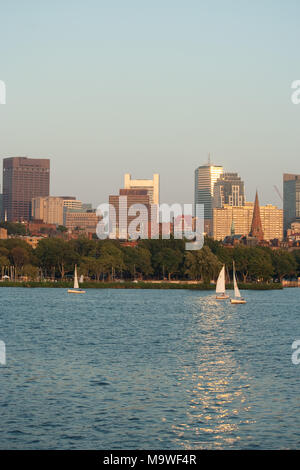 Sailing on St. Charles River, Boston, Massachusetts - Stock Photo