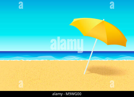 Beach umbrella on a deserted beach near ocean. Vacation flat concept. Empty beach without people with parasol and blue sky at sea background. Horizont - Stock Photo