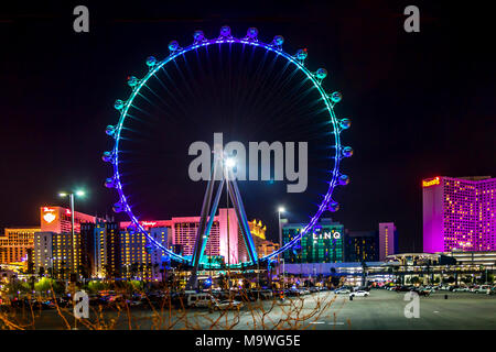 High Roller is a 550-foot tall, 520-foot diameter giant Ferris wheel on the Las Vegas Strip in Paradise, Nevada, United States of America. - Stock Photo