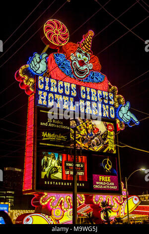 Neon sign for Circus-Circus Hotel and Casino, Las Vegas, Narvarda, U.S.A. - Stock Photo