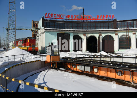 Moscow, Russia. 28 March, 2018. View of the Motive-power depot Imeni Ilyicha at the Belorussky railway terminal. - Stock Photo
