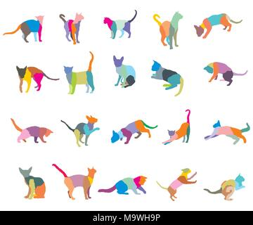 Set of colorful mosaic different breeds cats silhouettes (sitting, standing, lying, playing) isolated on white background. Vector illustration. - Stock Photo
