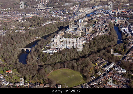 aerial view of Durham city with the River Wear - Stock Photo