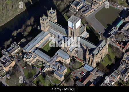 aerial view of Durham Cathedral - Stock Photo