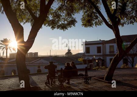 Alameda Vieja park, in background wineries Gonzalez Byass. Jerez de la Frontera. Spain - Stock Photo