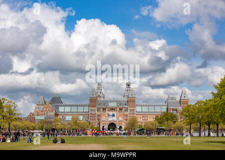 The Rijksmuseum on the  museumsquare in Amsterdam the Netherlands. - Stock Photo
