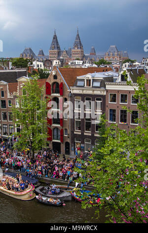A view on the canal houses and the Rijksmuseum in Amsterdam the Netherlands. - Stock Photo