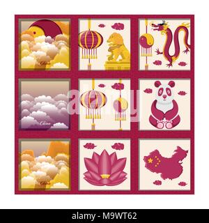 chinese culture set icons vector illustration design