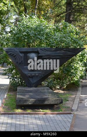 TOMB OF AIRCRAFT DESIGNER ANDREI TUPOLEV AT NOVODEVICHIY CEMETERY, MOSCOW - Stock Photo