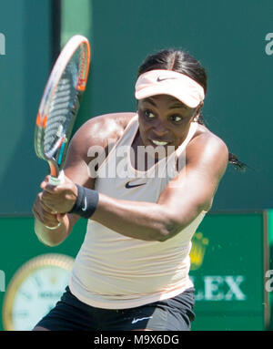 Miami, Key Biscayne, Florida, USA. 26th Mar, 2018. Sloane Stephens (USA) defeats Garbine Muguruza (ESP) by 6-3, 6-4, at the Miami Open being played at Crandon Park Tennis Center in Miami, Key Biscayne, Florida. © Karla Kinne/Tennisclix/CSM/Alamy Live News - Stock Photo