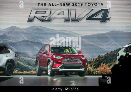 New York, USA. 28th Mar, 2018. Photo taken on March 28, 2018 shows the 2019 Toyota RAV4 during a media preview of the 2018 New York International Auto Show in New York, the United States. The debut of the all-new 2019 Toyota RAV4 was made here on Wednesday. Credit: Wang Ying/Xinhua/Alamy Live News - Stock Photo
