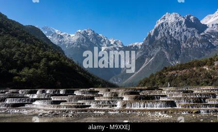 Jade Dragon Snow Mountain,Mount Yulong or Yulong Snow Mountain at Lijiang,Yunnan province,China. - Stock Photo