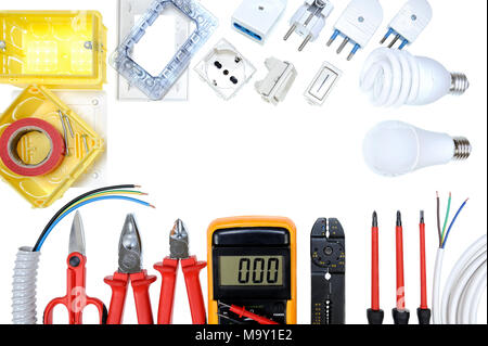 Close up of work tools and components for residential electrical installation isolated on white background. Space for text / announcement - Stock Photo