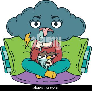 Frustrated, bad mood person eat ice cream. Gloomy person. Vector illustration isolated on white background. - Stock Photo