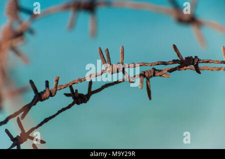 Fence fragment of old rusty barbed wire lines - Stock Photo