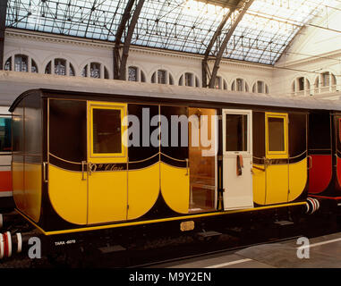 Railway of the short line from Barcelona to Mataro, 1848. Wagon, Second Class. Replica for the Exhibition '150 years of railroad in Spain' (1998-1999), held in France Station, Barcelona, Catalonia, Spain. - Stock Photo