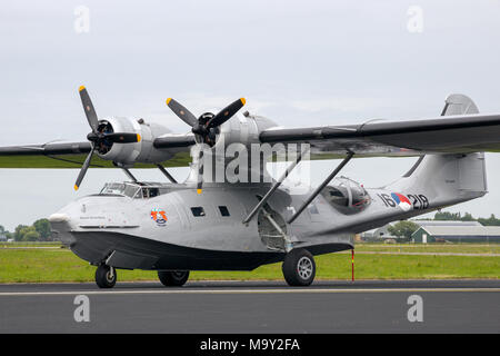 LEEUWARDEN, THE NETHERLANDS - JUN 10, 2016: Consolidated PBY Catalina flying boat on Leeuwarden airbase. - Stock Photo