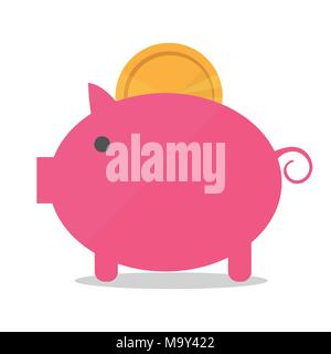 Pig piggy bank with coin vector illustration in flat style. The concept of money - Stock Photo