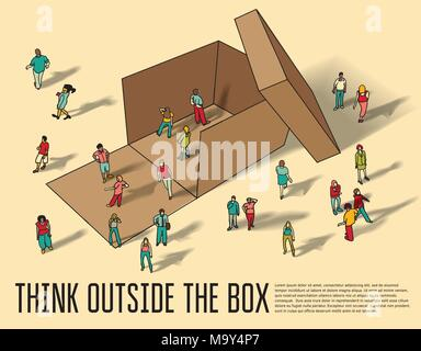Isometric group business people think outside box. - Stock Photo