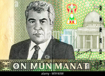 Saparmurat Niyazov portrait from ten thousand turkmenistan manats banknote - Stock Photo
