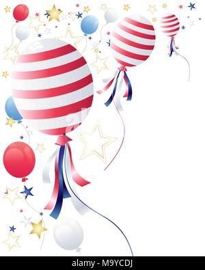 an illustration of party balloons with star confetti in celebration of july fourth on a white background - Stock Photo
