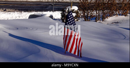 American Flag in snow in winter