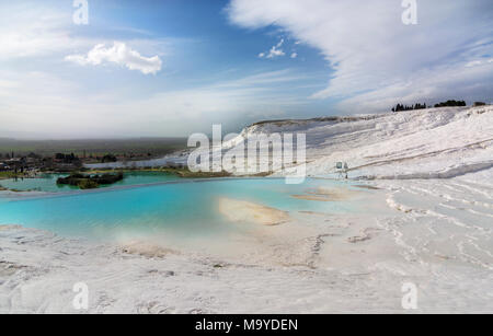 pamukkale travertine,Traverten is a versatile, slip formed by chemical reaction post-precipitation due to various causes and environments. Geological - Stock Photo