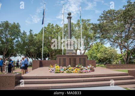Darwin,Northern Territory,Australia-February 19,2018: Cenotaph Memorial on the Bombing of Darwin Day 76th anniversary and people in Darwin, Australia - Stock Photo