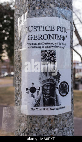 sign on pole asking 'JUSTICE FOR GERONIMO' / return remains of Apache warrior Stock Photo