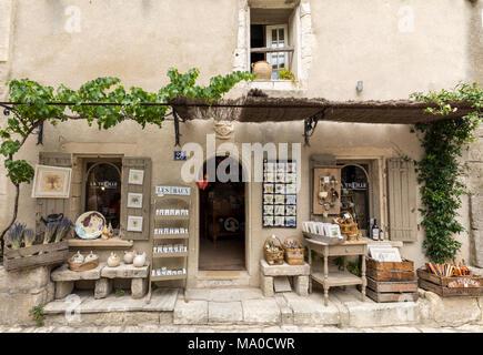 Les Baux de Provence, France - June 26, 2017: Tourist shop in Les Baux de Provence, Provence,  France - Stock Photo