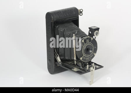 An old Eastman Kodak Vest Pocket Camera Model B. Manufactured between 1925 and 1934, this model was marketed for Boy Scouts or Girl Guides. - Stock Photo