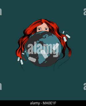 Poster with Ecological Theme: Plastic Pollution. Redhead Woman Representing the Mother Earth Hiding behind the Planet Earth. - Stock Photo