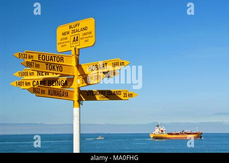 Global signpost - world distances measured from the world's southernmost signpost in Bluff, New Zealand. - Stock Photo