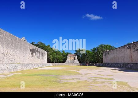 View of ball game court (juego de pelota) at Chichen Itza - Yucatan, Mexico. - Stock Photo