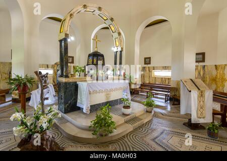 Interior of the church of the Beatitudes, roman catholic church located by Sea of Galilee near Tabgha and Capernaum at the Mount of Beatitudes, Israel - Stock Photo
