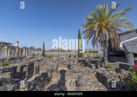 The ruins in the small town Capernaum on the coast of the lake of Galilee. According to the bible this is the place where Jesus lived, Israel. - Stock Photo